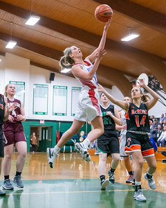Marian Central's Regan Dineen goes up for a shot at the 2019 McHenry County All-Star game held at Alden-Hebron's Tigard Gymnasium Sunday, April 7, 2019 in Hebron. KKoontz – For Shaw Media