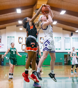 McHenry High School's Izzy Gscheidle blocks Hampshire's Sarah Bowen shot from behind at the 2019 McHenry County All-Star game held at Alden-Hebron's Tigard Gymnasium Sunday, April 7, 2019 in Hebron. KKoontz – For Shaw Media