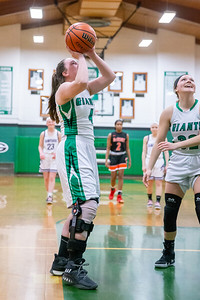Injured Alden-Hebron player Taylor Horton was given an opportunity to play and score a basket at the 2019 McHenry County All-Star game held at Alden-Hebron's Tigard Gymnasium Sunday, April 7, 2019 in Hebron. KKoontz – For Shaw Media