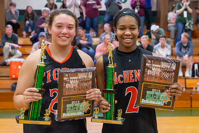 The 2019 McHenry County Girls All-Star game 3-point competition winner Crystal Lake Central's Maddie Haslow (left) and the game's most valuable player Izzy Gscheidle (right) representing McHenry, pose for a photo after the game at Alden-Hebron's Tigard Gymnasium Sunday, April 7, 2019 in Hebron. KKoontz – For Shaw Media