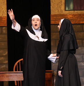 "Candace H. Johnson-For Shaw Media Mother Abbess (Shelby Swiercz) sings, ""Climb Ev'ry Mountain,"" with Maria Rainer (Madison Hartman) by her side during the dress rehearsal for The Sound of Music at Grant Community High School in Fox Lake. The musical will be held at Grant on Friday, April 12th at 7:00 pm., Saturday, April 13th, at 7:00 pm. and Sunday, April 14th at 2:00 pm. (4/8/19)"