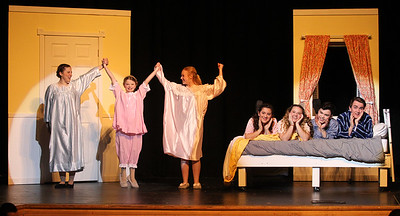 Candace H. Johnson-For Shaw Media Maria Rainer (Madison Hartan) and the von Trapp children practice a scene during the dress rehearsal for The Sound of Music at Grant Community High School in Fox Lake. The musical will be held at Grant on Friday, April 12th at 7:00 pm., Saturday, April 13th, at 7:00 pm. and Sunday, April 14th at 2:00 pm. (4/8/19)