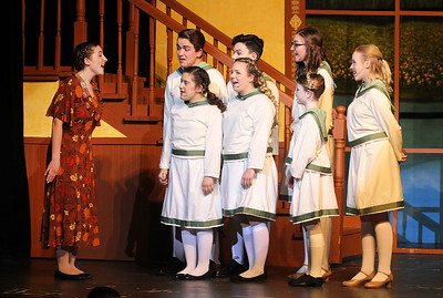 "Candace H. Johnson-For Shaw Media Maria Rainer (Madison Hartman) and the von Trapp children sing, ""Do-Re-Mi,"" during the dress rehearsal for The Sound of Music at Grant Community High School in Fox Lake. The musical will be held at Grant on Friday, April 12th at 7:00 pm., Saturday, April 13th, at 7:00 pm. and Sunday, April 14th at 2:00 pm. (4/8/19)"