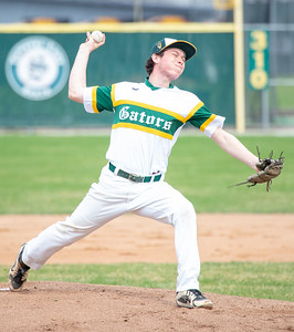 Crystal Lake South's Dominic Guzman took the start for the Gators against Huntley Wednesday, April 17, 2019 in Crystal Lake. Huntley scored two in the 7th inning to take the win 7-5. KKoontz – For Shaw Media