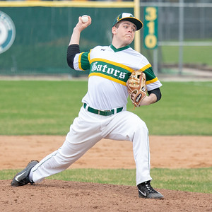 Crystal Lake South's Nathan Schlaiss takes the mound in the top of the third inning against Huntley Wednesday, April 17, 2019 in Crystal Lake. Huntley went on to win 7-5. KKoontz – For Shaw Media