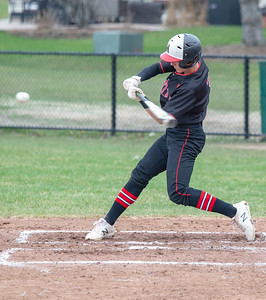 Huntley's Zach Model hits a three-run double in the bottom of the first inning against Crystal Lake South Wednesday, April 17, 2019 in Crystal Lake. Huntley scored two in the 7th inning to take the win 7-5. KKoontz – For Shaw Media
