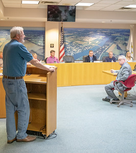 McHenry Ward 2 Alderman Andy Glab (left) expresses his concerns over the expansion at McHenry West High School at the McHenry Planning and Zoning meeting held Wednesday, April 17, 2019 in McHenry.  KKoontz – For Shaw Media