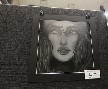 Candace H. Johnson-For Shaw Media Paige Humpa, 17, of Lindenhurst, had her digital illustration on display during the District 117 Art Show at Lakes High School in Lake Villa. The event was sponsored by the Antioch Women's Club. (4/12/19)