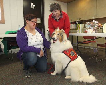 Candace H. Johnson-For Shaw Media Jessica Rodriguez, of Round Lake, a volunteer, pets Holly Collie, a therapy dog, with her owner, Deb Allen, of Ingleside, head of youth services, by her side during the Pet Expo at the Round Lake Area Public Library. (4/13/19)