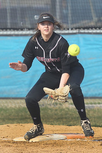 Candace H. Johnson-For Shaw Media Antioch's Rilee Schreiner takes the throw at first against Lakes in the second inning at Lakes Community High School in Lake Villa. Antioch won 9-3. (4/16/19)