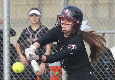 Candace H. Johnson-For Shaw Media Antioch's Abby Pyburn connects on a pitch against Lakes in the fourth inning at Lakes Community High School in Lake Villa. Antioch won 9-3. (4/16/19)