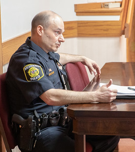 Richmond Chief of Police Ciro Cetrangolo answers questions concerning the way that the police department handled a case of road-rage where a gun was drawn by a motorist at the village board meeting Thursday, April 18, 2019 in Richmond. KKoontz – For Shaw Media