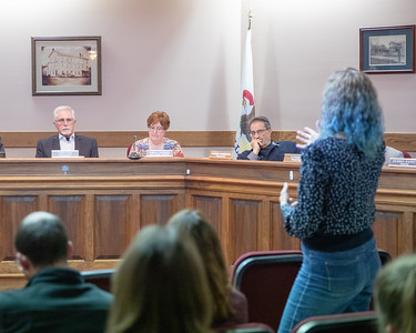 Dot Krawczyk raises issue with village board and the way that the police department handled a case of road-rage where a gun was drawn by motorist at the village board meeting Thursday, April 18, 2019 in Richmond.
