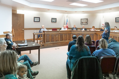 Dot Krawczyk raises issue with Richmond Chief of Police Ciro Cetrangolo and the way that the police department handled a case of road-rage where a gun was drawn by motorist at the village board meeting Thursday, April 18, 2019 in Richmond. KKoontz – For Shaw Media