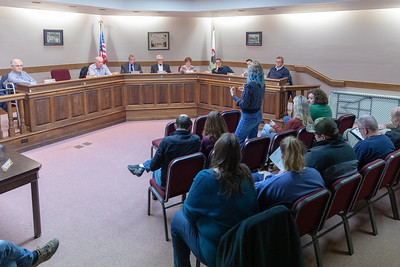 Dot Krawczyk raises issue with village board and the way that the police department handled a case of road-rage where a gun was drawn by motorist at the village board meeting Thursday, April 18, 2019 in Richmond. KKoontz – For Shaw Media