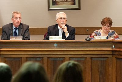 Richmond Village President Craig Kunz (center) asks for public statements Thursday, April 18, 2019 at the village board meeting in Richmond.  KKoontz – For Shaw Media