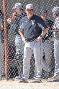 Prairie Ridge head baseball coach Glen Pecoraro watches the game against McHenry Saturday, April 20, 2019 in McHenry. Prairie Ridge goes on to win, 8-0. KKoontz- For Shaw Media