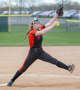 Crystal Lake Central's Morgann Paaske took the mound against Crystal Lake South Monday, April 22, 2019 at Crystal Lake South High School. South goes on to win their 18th of the year, 12-2 in five innings. KKoontz- For Shaw Media