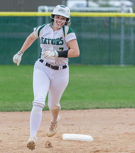 Crystal Lake South's Brooke Kuffel trots around second base after hitting a solo home run off the scoreboard in left field against Crystal Lake Central Monday, April 22, 2019 at Crystal Lake South High School. South goes on to win their 18th of the year, 12-2 in five innings. KKoontz- For Shaw Media