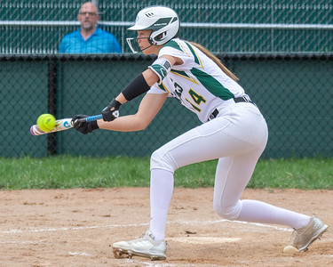 Crystal Lake South's Christina Toniolo picks up a RBI on a sacrifice bunt in the bottom of the first inning against Crystal Lake Central Monday, April 22, 2019 at Crystal Lake South High School. South goes on to win their 18th of the year, 12-2 in five innings. KKoontz- For Shaw Media