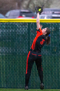 Crystal Lake Central's Valerie Novy makes the catch at the fence against Crystal Lake South Monday, April 22, 2019 at Crystal Lake South High School. South goes on to win their 18th of the year, 12-2 in five innings. KKoontz- For Shaw Media