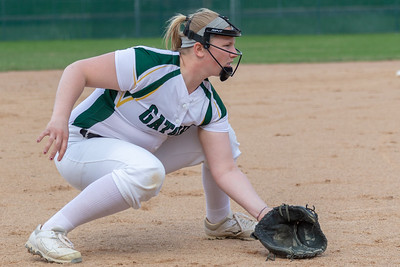 Crystal Lake South's Emily Sulikowski readies herself at third base against Crystal Lake Central Monday, April 22, 2019 at Crystal Lake South High School. South goes on to win their 18th of the year, 12-2 in five innings. KKoontz- For Shaw Media