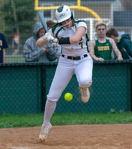 Crystal Lake South's Brooke Kuffel is hit by a pitch against Crystal Lake Central Monday, April 22, 2019 at Crystal Lake South High School. South goes on to win their 18th of the year, 12-2 in five innings. KKoontz- For Shaw Media