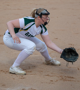 Crystal Lake South's Emily Sulikowski anticipates a bunt on the baseline against Crystal Lake Central Monday, April 22, 2019 at Crystal Lake South High School. South goes on to win their 18th of the year, 12-2 in five innings. KKoontz- For Shaw Media