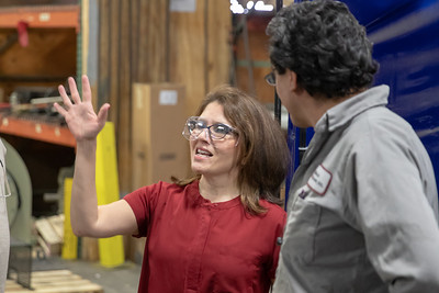 Former Illinois Lt. Governor Evelyn Sanguinetti (left) talks with an Illinois Blower employee during a plant tour Monday, April 22, 2019 in Cary. Earlier in the day, Sanguinetti announced her run for Congress in Illinois' Sixth district. KKoontz – For Shaw Media