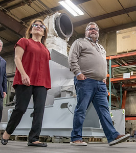 Former Illinois Lt. Governor Evelyn Sanguinetti (left) speaks with Illinois Blower employee Bill Dorman (right) during a plant tour, Monday, April 22, 2019 in Cary. Earlier in the day, Sanguinetti announced her run for Congress in Illinois' Sixth district. KKoontz – For Shaw Media
