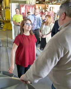 Former Illinois Lt. Governor Evelyn Sanguinetti (left) speaks with Bill Dorman, an employee at Illinois Blower, Monday, April 22, 2019 in Cary. Earlier in the day, Sanguinetti announced her run for Congress in Illinois' Sixth district. KKoontz – For Shaw Media