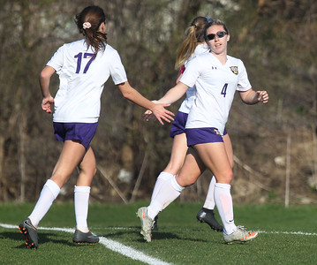 Candace H. Johnson-For Shaw Media Wauconda's Belle Johnson and Megan Sinnott celebrate scoring against Lakes in the second half at Lakes Community High School in Lake Villa. Wauconda won 5-0. (4/23/19)