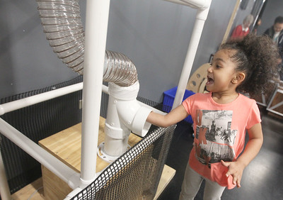 Candace H. Johnson-For Shaw Media Gianna Jaimus, 4, of Grayslake puts a soft ball in a wind tube in the AirMazing Station at the Kohl Children's Pop-Up Museum at the Village of Round Lake Beach Cultural & Civic Center. The Pop-Up Museum is open Thursdays 5-7 p.m. and Saturdays 10 a.m. - 4 p.m. It will run through May 25th.  (4/18/19)