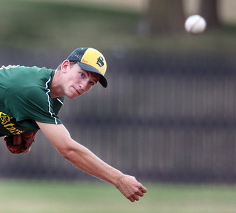 Jeff Krage – For the Northwest Herald Crystal Lake South's Tyler Hall pitches during Monday's game against St. Laurence at North Central College in Naperville. Naperville 7/23/12