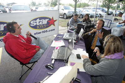 H. Rick Bamman - hbamman@shawmedia.com The Star 105.5 Morning Show personalities Joe Cicero and Tina Bree speak Friday morning with Crystal Lake mayor Aaron Shipley during the Take a Stand for Turning Point radiothon. The 36-hour event runs through 6 p.m. Saturday at the Sam's Club in Crystal Lake.