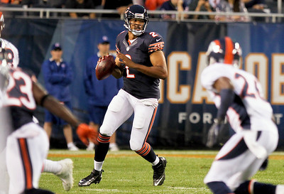 Sarah Nader - snader@shawmedia.com Chicago Bears' quarterback Jason Campbell throw a pass during the first quarter of Thursday's pre-season game against the Denver Broncos at Soldier Field in Chicago on August 9, 2012.