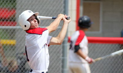 Mike Greene - mgreene@shawmedia.com Crystal Lake Cardinals' Trey Schram watches his hit fly through the air during a MCYSA Summer International Championship game against the Lyons Township Titans Thursday, August 2, 2012 at Marian Central Catholic High School in Woodstock. The Titans defeated the Cardinals 7-6.