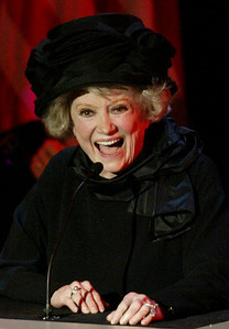 "Comedienne Phyllis Diller reminiscences at ""The Bob Hope Memorial Tribute"" at the Academy of Television Arts and Sciences headquarters in Los Angeles  in this Aug. 2003 file photo.   (AP Photo/Michael Blake, Pool)"