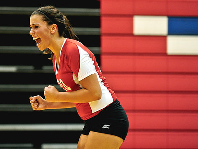 Josh Peckler - Jpeckler@shawmedia.com Dundee-Crown's Lauren Lococo celebrates a point during the 1st game against Streamwood at Dundee-Crown High School Wednesday, August 22, 2012. Dundee-Crown won the match 2-1.