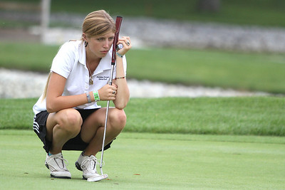 Mike Greene - mgreene@shawmedia.com Dundee-Crown's Andie Huml prepares to putt on the 11th green during a season-opening event hosted by Huntley High School Tuesday, August 14, 2012 Pinecrest Golf and Country Club in Huntley. Crystal Lake Central took first place overall in the event.