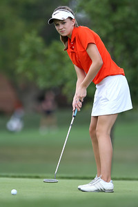 Mike Greene - mgreene@shawmedia.com Crystal Lake Central's Emily Jean putts on the 11th green during a season-opening event hosted by Huntley High School Tuesday, August 14, 2012 Pinecrest Golf and Country Club in Huntley. Jean tied for second place in the event, helping Crystal Lake Central take first place overall.