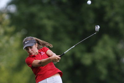 Mike Greene - mgreene@shawmedia.com Huntley's Gillian Young tees off on the 13th hole during a season-opening event hosted by Huntley High School Tuesday, August 14, 2012 Pinecrest Golf and Country Club in Huntley. Young tied for second place in the event, helping Huntley take second place overall.