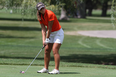 Mike Greene - mgreene@shawmedia.com Crystal Lake Central's Brianna DiGrazia prepares to tee off on the 11th hole during a season-opening event hosted by Huntley High School Tuesday, August 14, 2012 at Pinecrest Golf and Country Club in Huntley. Crystal Lake Central took first place overall in the event.