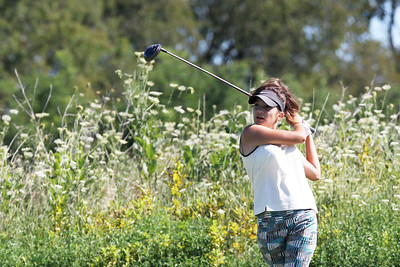 Mike Greene - mgreene@shawmedia.com Jenna Kurosky watches her drive on the 2nd tee during the MCJGA Oak Grove Open Monday, August 6, 2012 at Oak Grove Golf Course in Harvard. Kurosky shot a 45 on the day, earning her a tie for fourth place in the girls senior division.