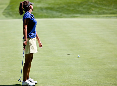 Josh Peckler - Jpeckler@shawmedia.com Jenna Kurosky watches her putt land short on the green of the 3rd hole during the McHenry County Junior Golf Association Tournament of Champions at Woodstock Country Club Tuesday, August 7, 2012.