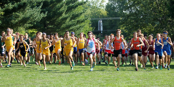 Mike Greene - mgreene@shawmedia.com Area boys teams take off at the start of the boys 3 mile competition during a McHenry County Cross Country Meet Saturday, August 25, 2012 at McHenry Township Park in Johnsburg.