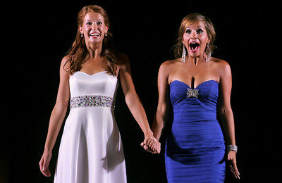 Sarah Nader - snader@shawmedia.com Caitlin Theros (left), 16, of Crystal Lake and Samantha Bolet, 17, of Lake in the Hills react after Bolet is announced the winner of the 64th Miss McHenry County Pageant at the McHenry County Fairgrounds on Wednesday, August 1, 2012. Theros was the first runner-up at the pageant.