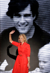 Ann Romney, wife of U.S. Republican presidential candidate Mitt Romney, waves after addressing the Republican National Convention in Tampa, Fla., on Tuesday, Aug. 28, 2012. (AP Photo/J. Scott Applewhite)