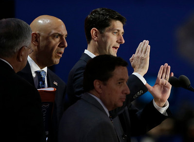 Republican vice presidential nominee, Rep. Paul Ryan looks over the stage during a sound check before the Republican National Convention in Tampa, Fla., on Wednesday, Aug. 29, 2012. (AP Photo/Charlie Neibergall)