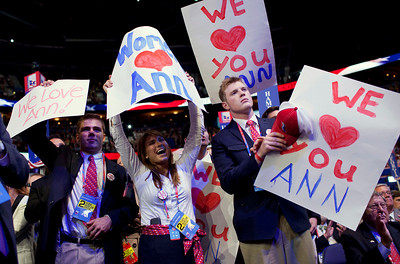 People cheer for Ann Romney, wife of Republican presidential candidate, former Massachusetts Gov. Mitt Romney as she delivers a speech at the Republican National Convention on Tuesday, Aug. 28, 2012 in Tampa, Fla.  (AP Photo/Evan Vucci)